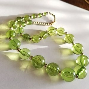 Vintage green bubble beads necklace graduated size